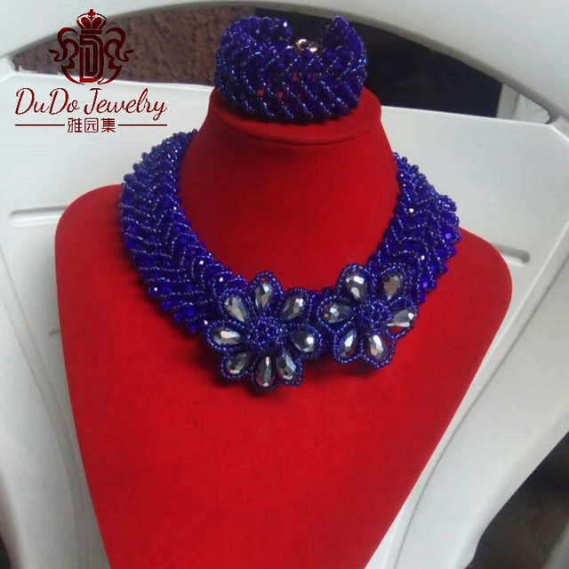 Big Design Costume Jewelry Set Fashion Royal Blue Crystal Nigerian Beads Necklace Set Dubai Silver Flowers Jewelry Sets 2017 NEW
