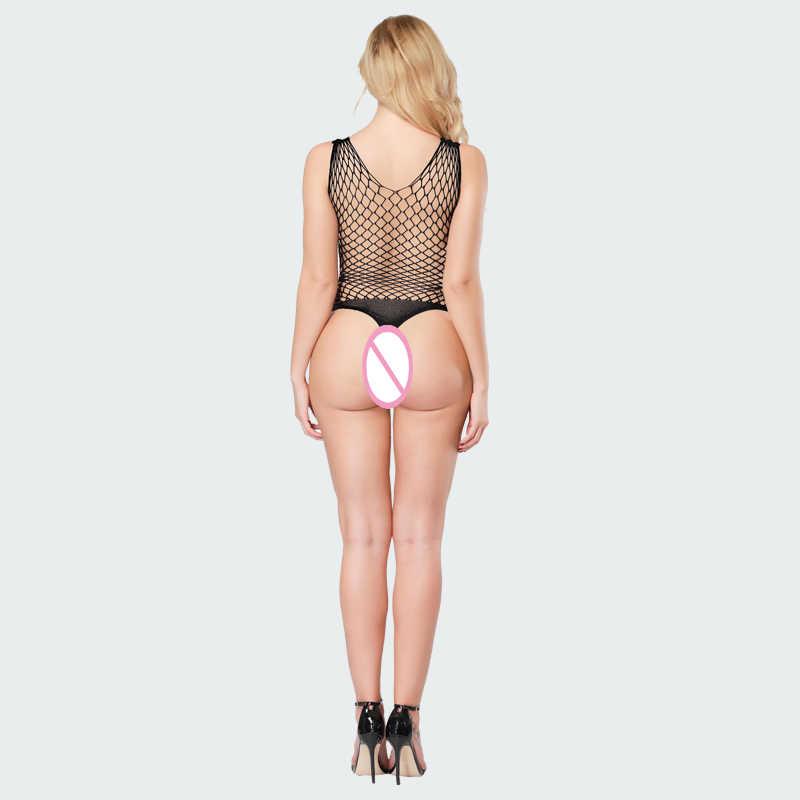 Sexy Bondage Mesh Teddies Visnet Bodysuit Thong Net Babydoll Zien Door Bodysuit Sexy Ondergoed Vrouwen Lingerie Teddy Wetlook