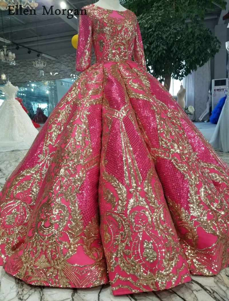 45e1fcc51d Muslim Glitter Ball Gowns Wedding Dresses with Sleeves Floor Length Corset  Custom Made Real Photos Princess Bridal Gowns 2019