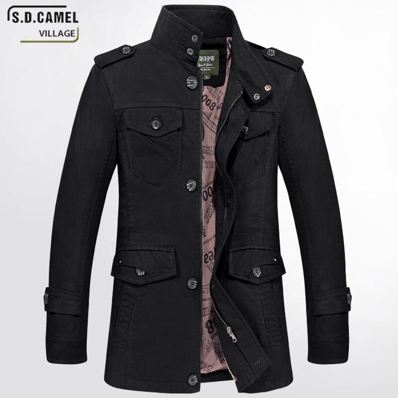 Армия бомбардировщик Для мужчин куртка Лидер продаж Для мужчин куртка длинная куртка с секциями Модный плащ бренд Повседневное Fit пальто ку...
