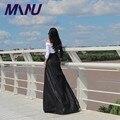 PU Faldas Largas Para Mujer 2016 Otoño Invierno Palabra de Longitud Una Línea de Más Tamaño 7XL de Imitación de Cuero Negro Sólido Falda Maxi