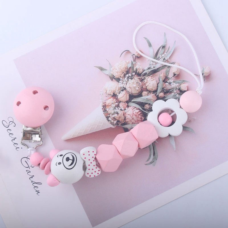 Baby Pacifier Clip Chain Wooden Holder Chupetas Soother Pacifier Clips Holder Leash Strap Nipple For Infant Baby Feeding