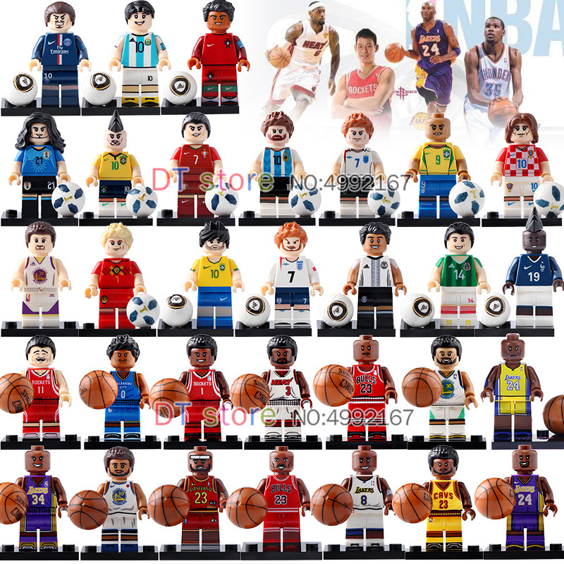 31pcs/lot Basketball Football Superstar Kobe Wade Curry James Messi Ronaldo Neymar Building Block Children Gift Toys Br243 Bright And Translucent In Appearance