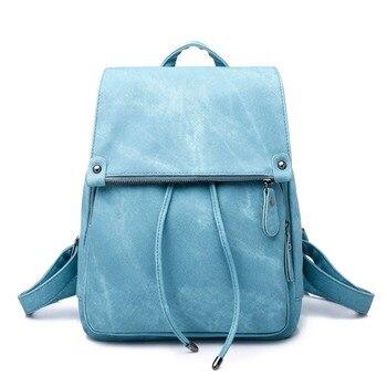 New women's backpack mochilas mujer 2018 pleated artificial denim PU women's casual backpack mochila college style bag NB190