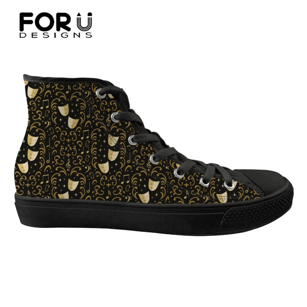 FORUDESIGNS Shoes Women Spring Stylish High Top Canvas Shoes Funny 3D Theater Damask Prints Women's Casual Vulcanized Sneakers