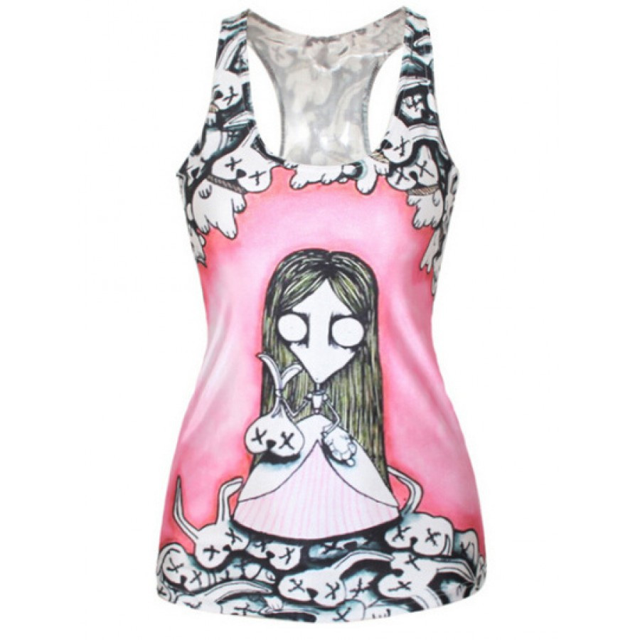 Women Corpse Girl Print Fitness Casual Vest Workout Seamless Summer Aerobics Exercise Stretch Tank Top Hiphop Fiber Soft