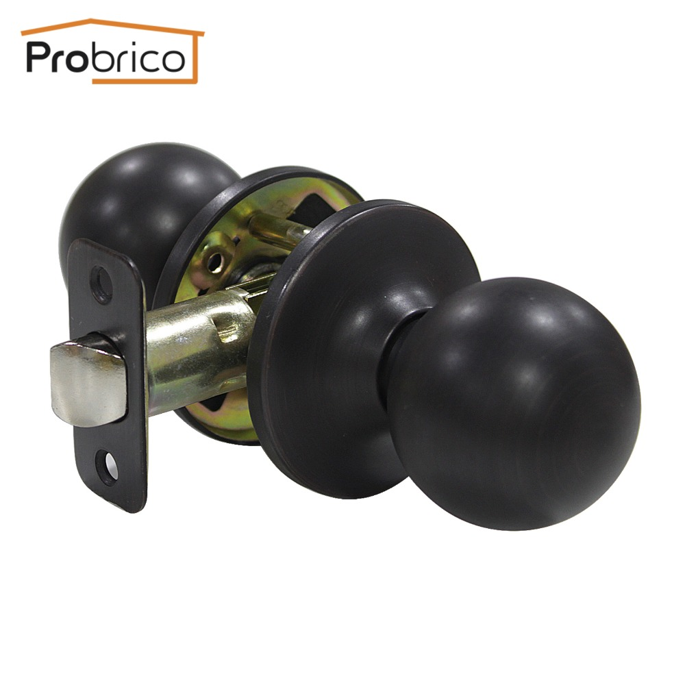 Probrico 10 PCS Passage Keyless Door Lock Stainless Steel Oil Rubbed Bronze Door Knob Door Handle For Interior Door DL5763ORBPS allen roth brinkley handsome oil rubbed bronze metal toothbrush holder