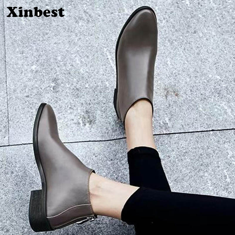 Xinbest Woman Boots Genuine Leather Ankle Boots For Women Round Toe Womens Winter Boots Square heel Women High Heel Shoes газовая плита simfer f66gw41001