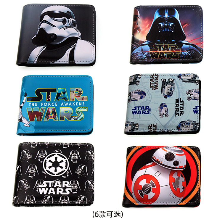 Movies Star Wars Purse Black And White Short Folding Creative Wallet Credit Card Holder Coin Storage Wallets For Men Women Gifts