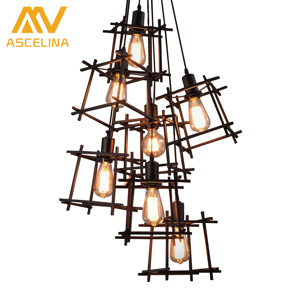 American Vintage Style Dining Room Chandelier Geometry Little Cage Light Coffee Shop Light Bars Decoration Light