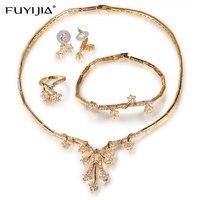 FUYIJIA Micro set Four piece 18K Gold Jewellery Women Jewelry Sets Luxury Dubai Jewelry Sets Fresh Flowers Necklace Set Silver