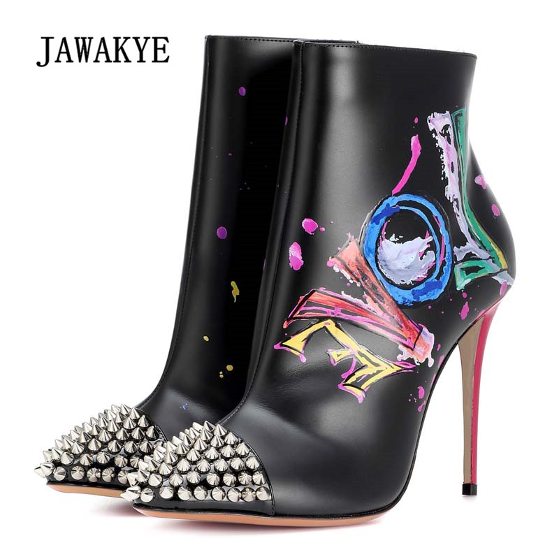 2018 Sexy Ankle Boots Woman Pointed Toe Rivet Spike Mixed Color Love Scrawl High Heel Boots Woman Chic Ankle Boots