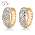 Mytys Gold Plated Twill Crystal Pave Setting Hollow Heart Pattern Small Hoop Earring for Women CE220