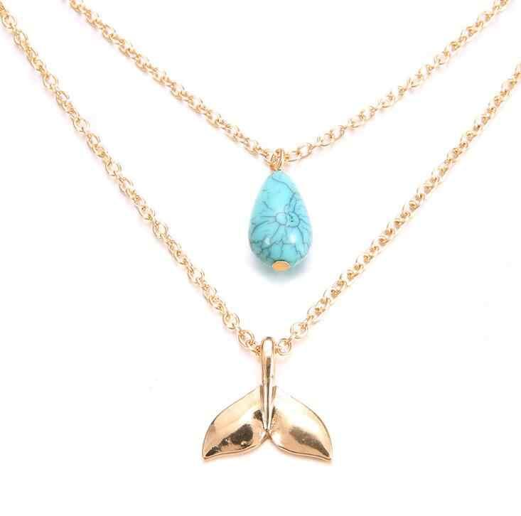 高品質 2018 新ゴールド色クジラの尾ブルー水滴石チャームチョーカーネックレスの襟ギフト自由奔放に生きるジュエリー