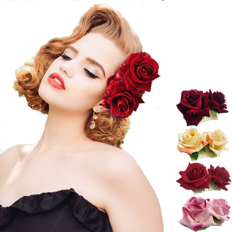 women Rose  Flower hair combs wedding crown headwear blooming Gold leaves Headband Fashion bride Festival girls flower hair clip