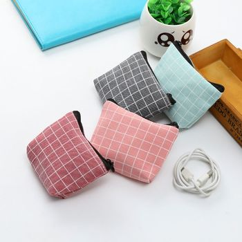 ISKYBOB Plaid Canvas Coin Purses Women Small Wallet Change Purse Child Girl Mini Zipper Pocket Bag Key Card Coin Holder Pouch image