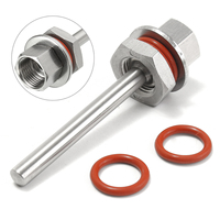Solid Stainless Steel 100mm Weldless Thermowell Home Brew Thermowell Kit Silver Temperature Measurement
