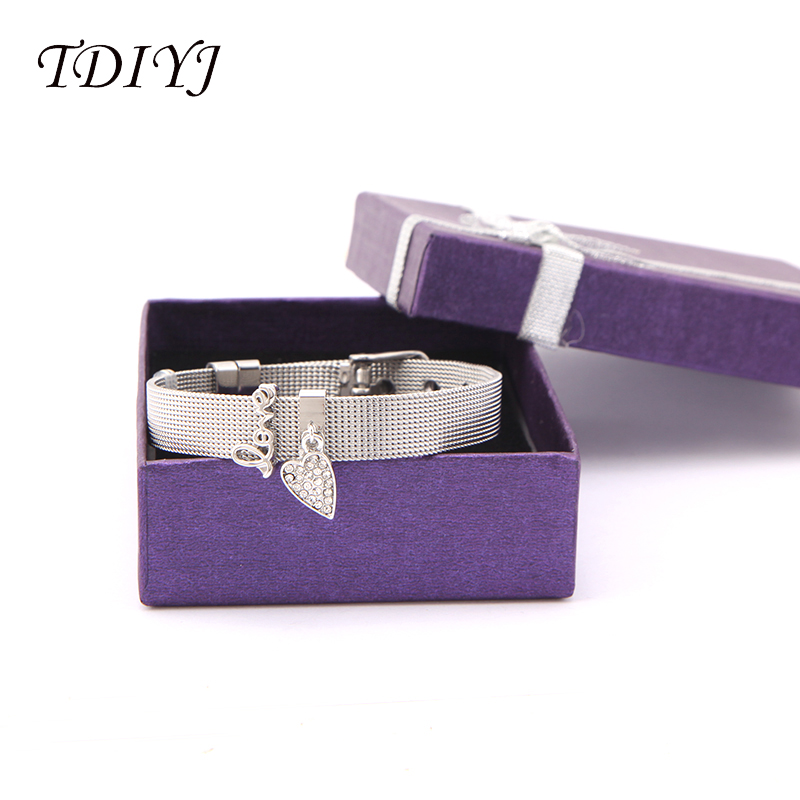 TDIYJ Gift Box Love Heart Dangle To Mom New Collection Charms DIY Stainless Steel Mesh Silver Bracelet For Mother's Day 1Set tdiyj gift box love heart dangle to mom new collection charms diy stainless steel mesh silver bracelet for mother s day 1set