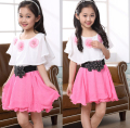 Girls Summer Dresses With Flower Belt Chiffon Clothing Flower Girls Casual Dress 2 Colors for 4~16 Years Kids