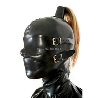 2017 New Design Sexy Products Female Women Latex Mask Hoods Fetish Pull Through Holes For Hair