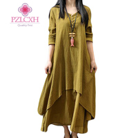 PZLCXH 2017 Spring Autumn Vintage Dress Women Casual Solid Loose Cotton Linen Maxi Long Dress Plus