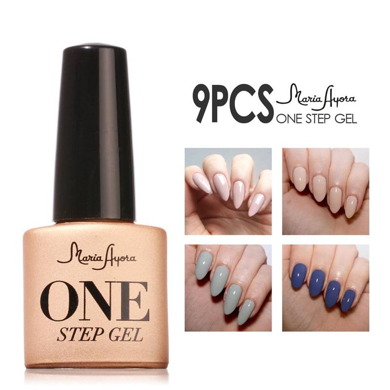 2017 Nuevo larga duración 9 piezas Nail Art No necesita Base superior un paso UV Gel esmalte de uñas esmalte primer Gel barnices