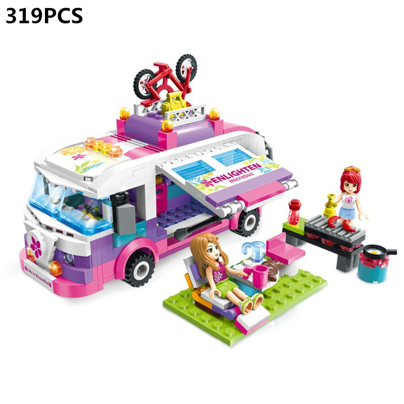 City Girls Princess Outing Bus Car Building Blocks Sets Bricks Model Classic Toys