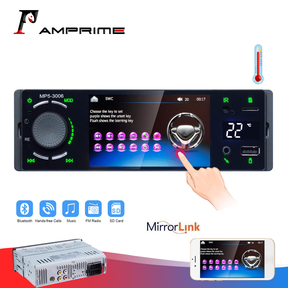 AMPrime 1 din Autoradio Car radio 4.1 Touch Screen Auto Audio mirrorlink Android stereo Bluetooth FM/AUX 1DIN MP5 Player image