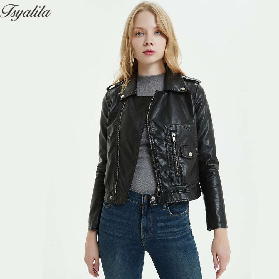 Manteau Et Manteaux Daim 2018 Femmes Vestes Black Biker Moto Printemps  Automne Cuir En rouge Veste Pu Faux Rouge Court Noir Mode xwzXqnF cae7bae93ceb