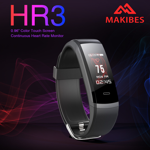 Original Makibes HR3 Colorful Screen Smart Bracelet Always-on heart rate monitor IP67 Health Tracker Wristband for Android iOS