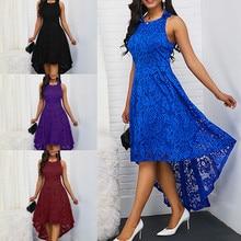 Women Fashion Elegant Cocktail Party Dress Sexy Sleeveless Lace Ladies Tunic Dresses Summer Trendy Pakaian Tanpa Lengan