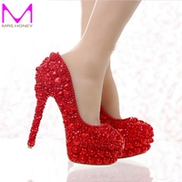 Free Shipping Red Pearl Wedding Shoes 2016 Newest Model Heart Shape Pearl Bride High Heels Party