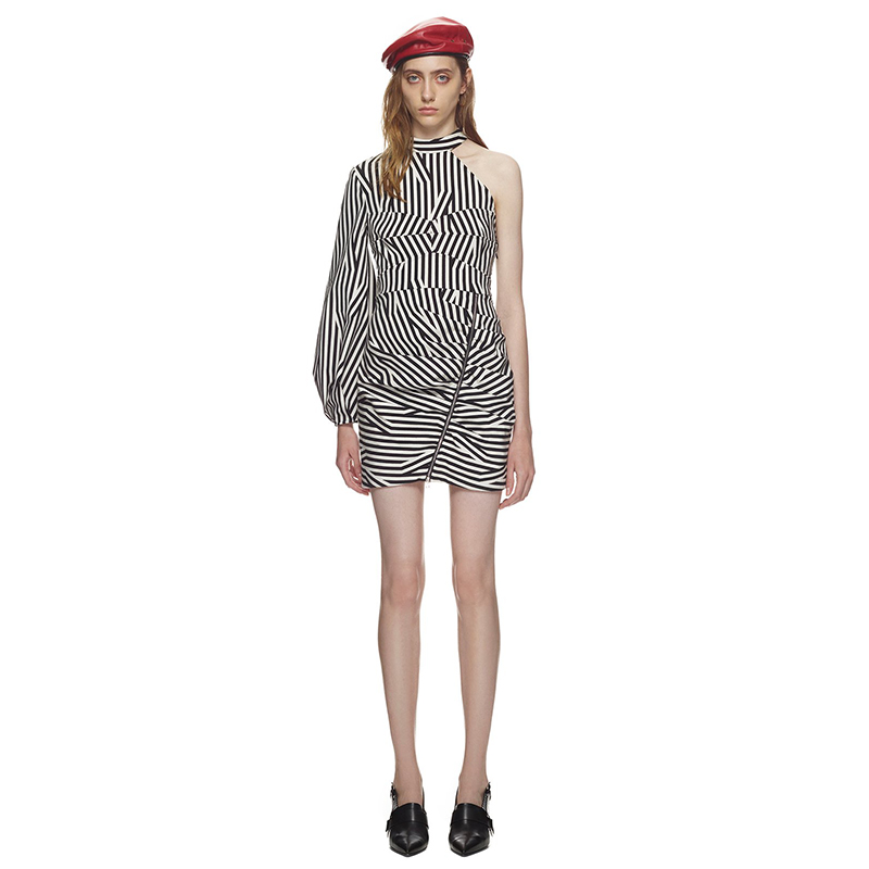 Une Épaule Bande Robes Robe Corset Abstraite Mini Rayé Seifrmann Sexy YPHXqx