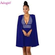 a73b49bd64 Adogirl Diamonds Sexy Deep V Neck Bodycon Dress with Cloak Women Sleeveless  Mini Club Party Dresses