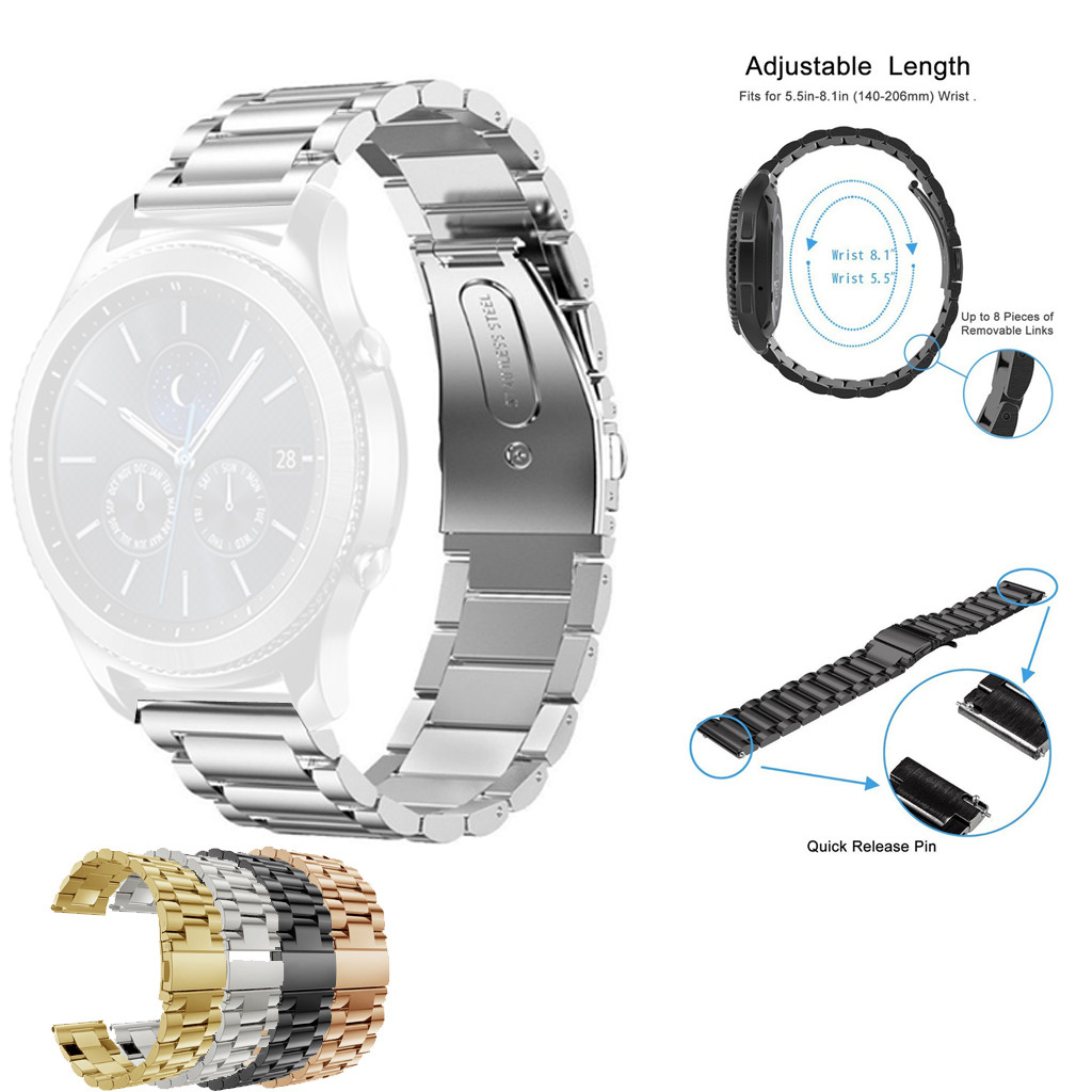 Bracelet Ticwatch Pro Stainless-Steel for 22mm -20 Wristband Replacement-Band Adjustable title=