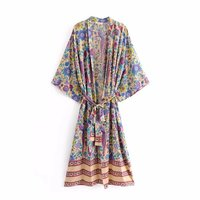 Summer Kimono Women Floral Printed Sashes Belt Wrap Beach Boho Chic Batwing Sleeve Long Blouses Shirts Female Maxi Holiday Tops