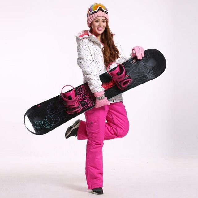 Зимний костюм в белый горошек, женская одежда для сноуборда, Зимние непромокаемые утолщенные костюмы, лыжный костюм, куртка + нагрудники