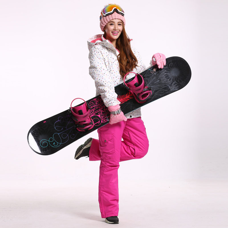 White Dot Snow Suit Women Snowboard Clothing Winter Waterproof Thicken Warm Costume Outdoor Ski Suit Sets Jackets+Pants