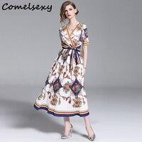 Comelsexy Women's Short Sleeve Cross V neck Flower Print Striped Belt Bow Vintage Long Pleated Dress 2019 Summer Runway Dress