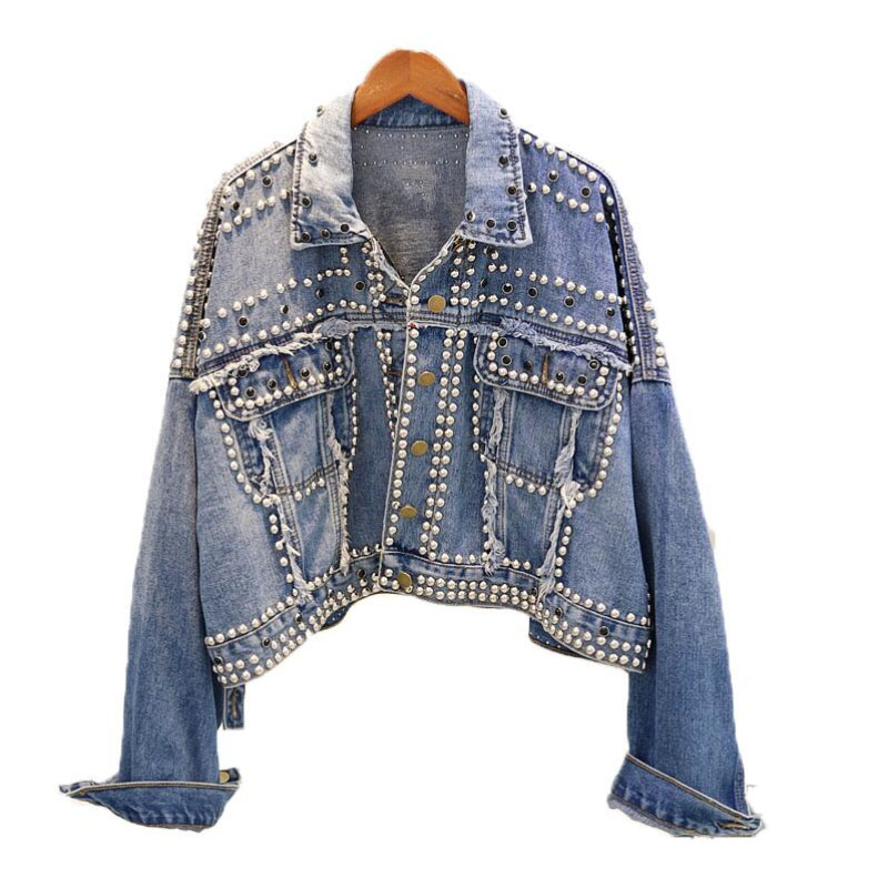Spring Denim Womens   basic     Jacket   coat Loose Coat Female 2019 Autumn Streetwear Fashion Heavy manual rivet studded denim   Jacket
