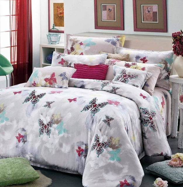 ea78c17d0956 Butterfly Luxury egyptian cotton satin comforter bedding set queen king  size comforters sets duvet cover quilt bed linen sheet