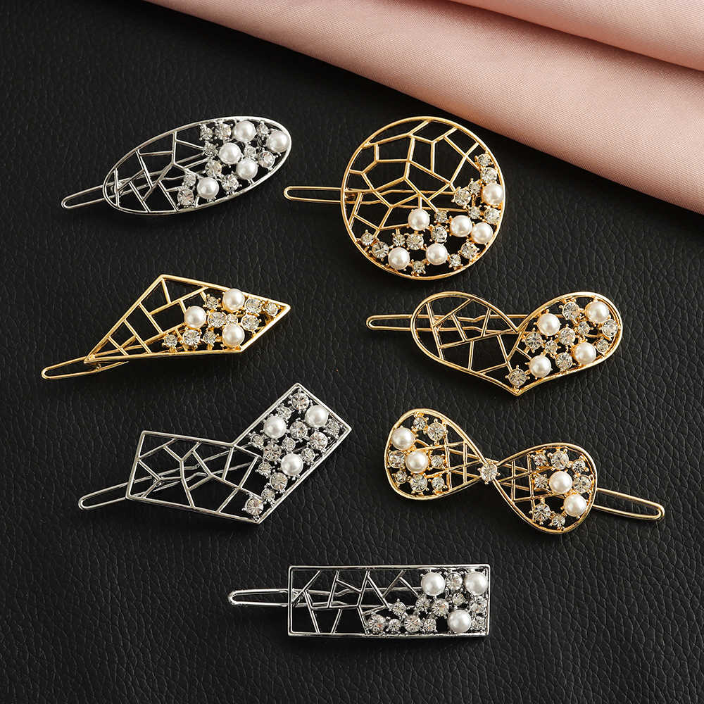 Geometric Heart Knot Barrettes Clips for Women Hair Side Bobby Pins Ponytail Hairpins Girls Hollow Metal Hairclips Hair Pins