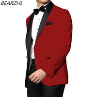 red suit men tuxedo suit prom design groom wear slim fit high quality 2019