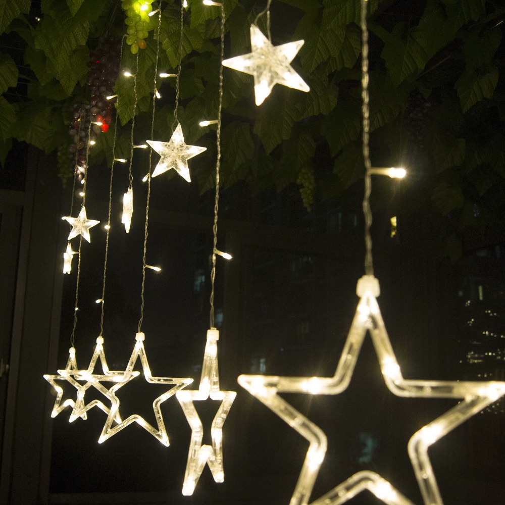 Indoor christmas decorations lights - 2m 48 Led Curtain Star String Fairy Light Christmas Decoration Led Light Idea For Wedding