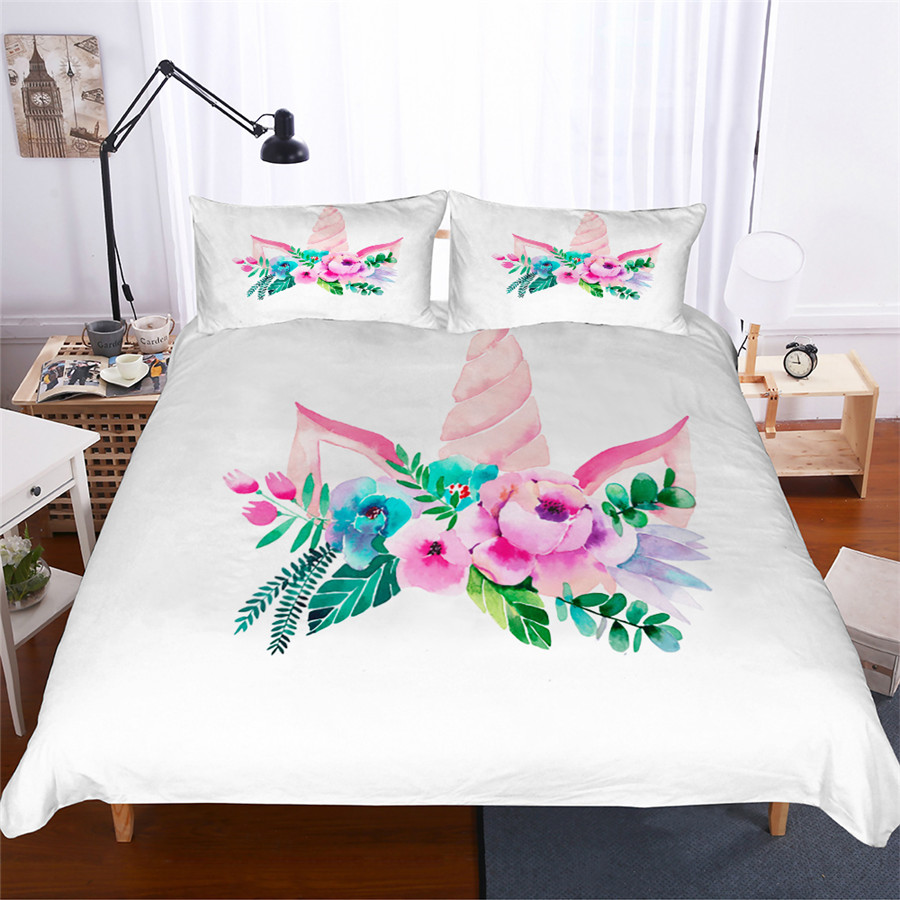 Bedding Set 3D Printed Duvet Cover Bed Set Unicorn Home Textiles for Adults Lifelike Bedclothes with Pillowcase #DJS03-in Bedding Sets from Home & Garden