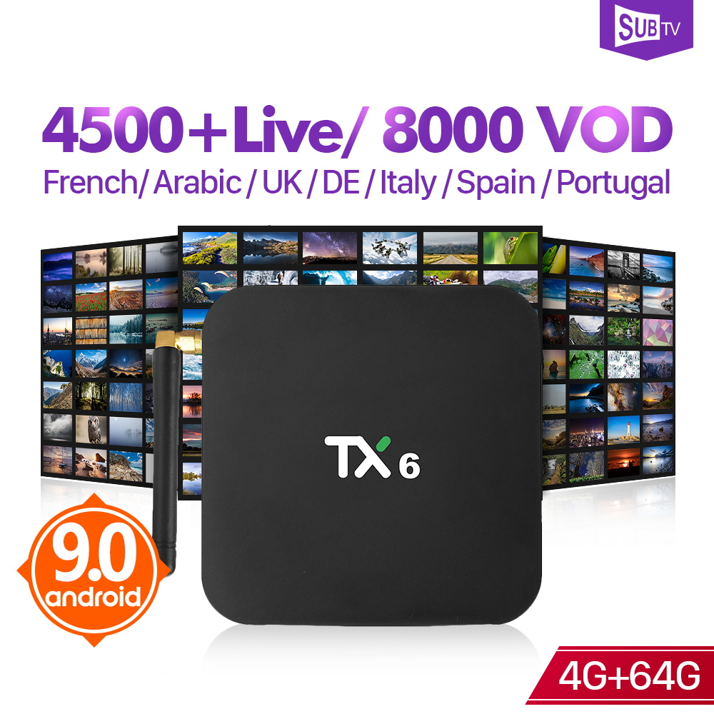 Arabic France IPTV 1 Year SUBTV Box Android 9.0 TX6 4+64G BT5.0 USB3.0 Dual-Band WIFI IPTV 1 Year SUBTV Subscription Italy Box  Arabic France IPTV 1 Year SUBTV Box Android 9.0 TX6 4+64G BT5.0 USB3.0 Dual-Band WIFI IPTV 1 Year SUBTV Subscription Italy Box