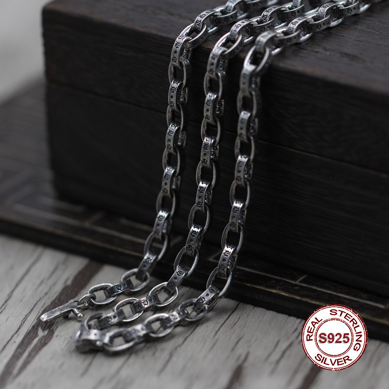 S925 collier en argent Sterling personnalité simple collier de balle sauvage chaîne de chandail de style couple classique envoyer un cadeau à l'amour
