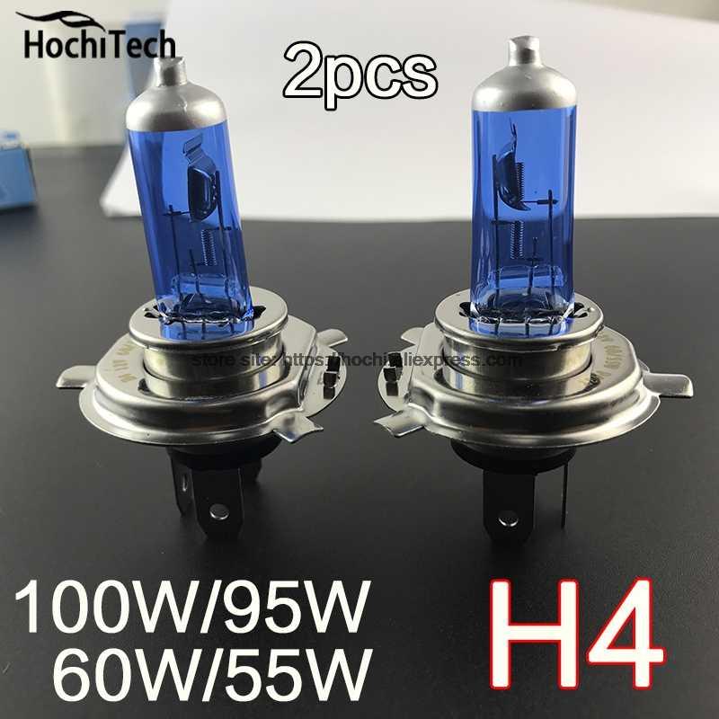 H4 12 ボルト 100/90 ワットまたは 65 ワット/50 ワットハロゲン電球 2 ピース (1 ペア) 6000 k または 4300 k キセノンダークブルーガラス車のヘッドライトランプスーパーホワイト黄色