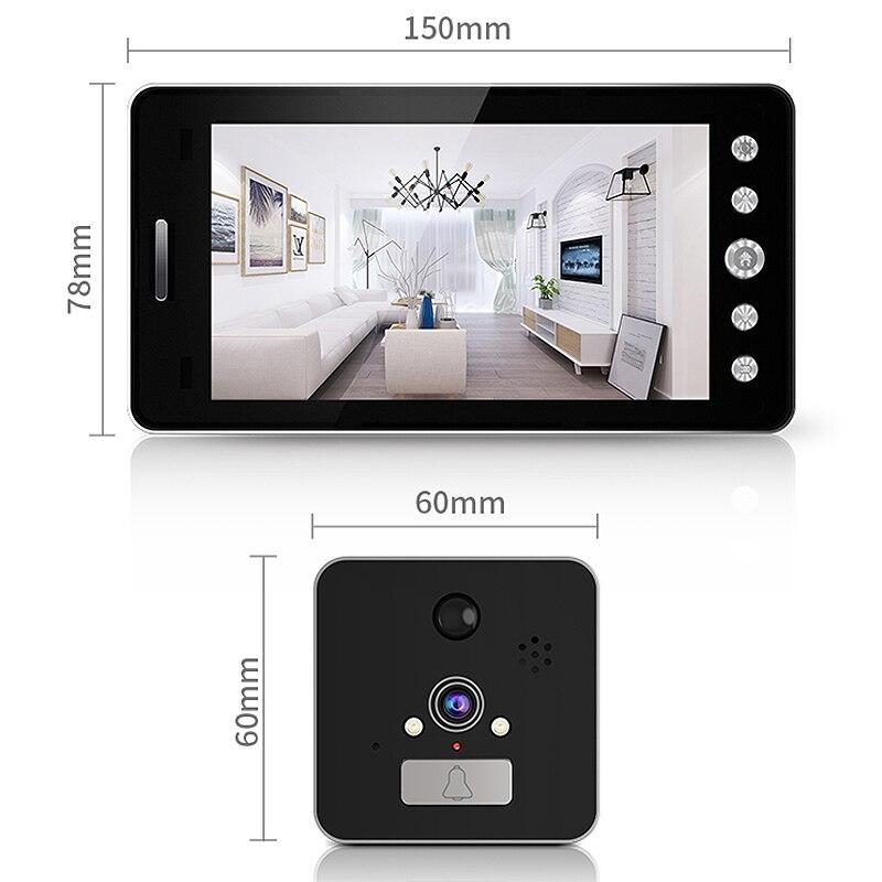 Image 3 - 5 インチ画面ワイヤレスドアベル Ip カメラ 5000Mah 160 度のぞきアプリで制御暗視 Pir モーションセンサー    グループ上の セキュリティ
