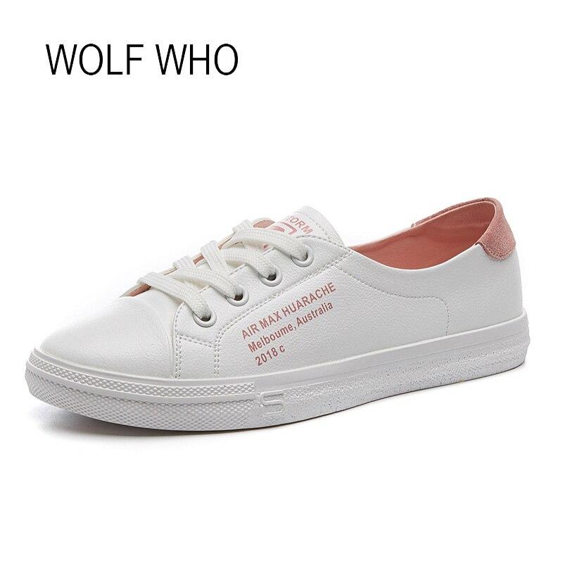 WOLF WHO 2018 White Women Sneakers Ladies Shoes Female Footwear Tenis Femininos Casual Basket Femme Chaussure Femme h-324 wolf who women winter shoes fur wedge fashion sneakers women hidden heels basket femme tenis femininos casual h 152